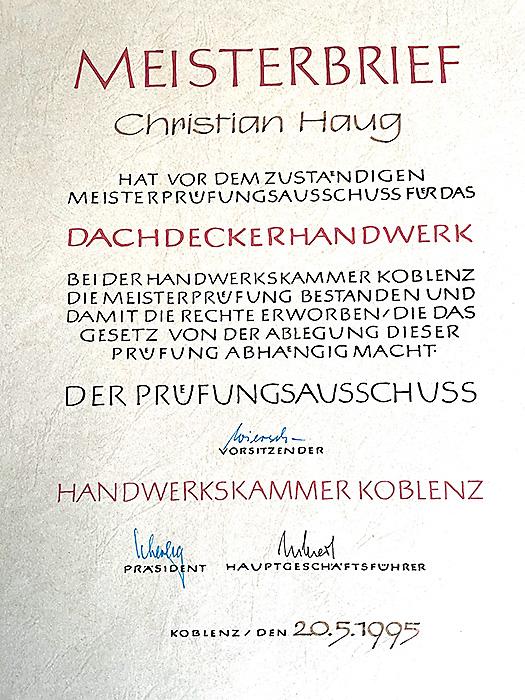 Meisterbrief im Dachdeckerhandwerk Christian Haug